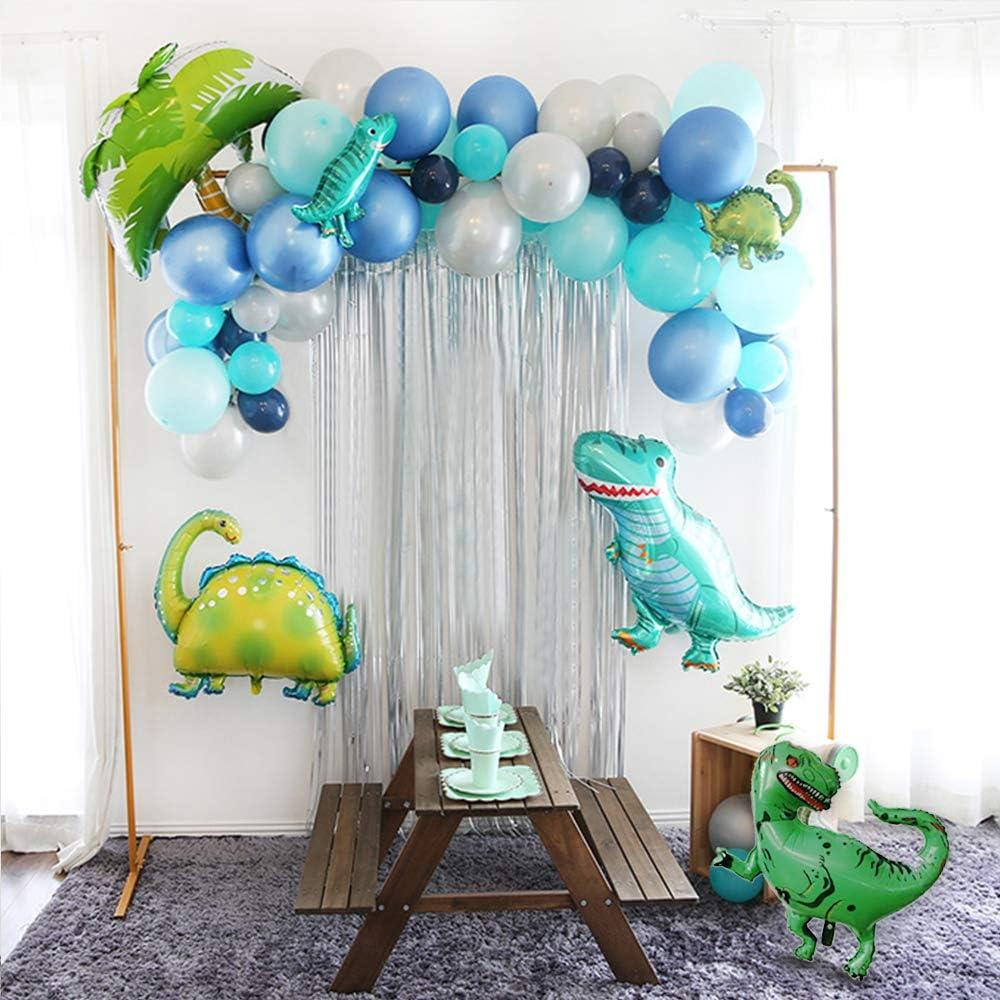 GIHOO Dinosaur Balloons Garland Arch Kit, Dinosaur Balloons Coconut Tree Foil Balloon 51pcs Latex Balloons Silver Curtain for Boys Birthday Party Baby Shower Jungle Theme Decor