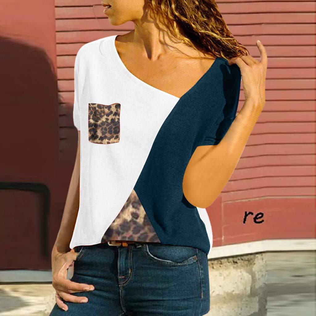 Maglietta Donna Manica Corta feiXIANG T-Shirt Collo Rotondo Patchwork Blusa Camicette Casual Sportivi Camicia Magliette Moda Allentato Camicetta Bluse Estivo Elegante Camicie Top