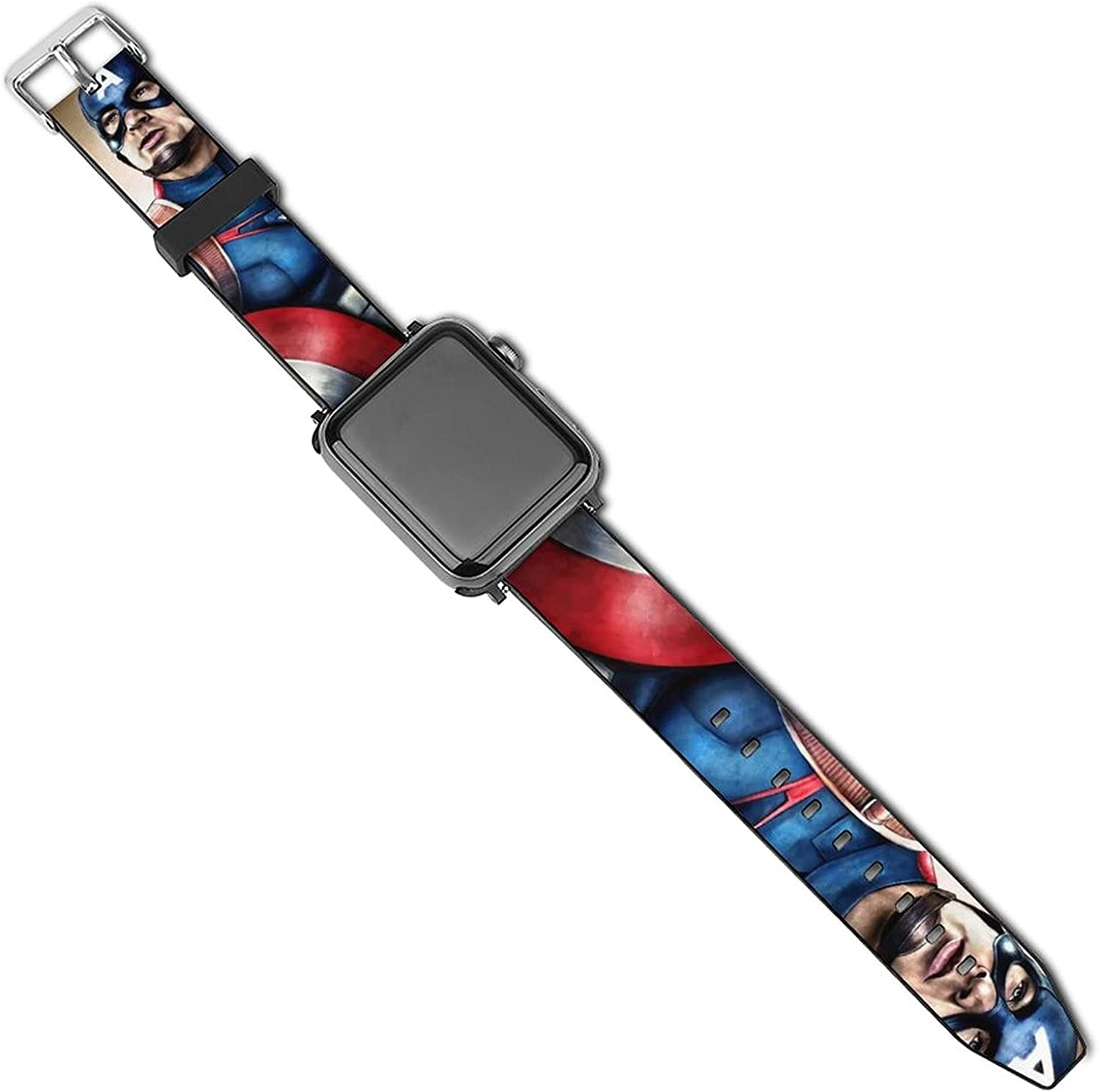 Captain America Apple Watch Band 44mm 42mm 40mm 38mm Leather Compatible iWatch Strap Compatible Apple Watch 5 4 3 2 1