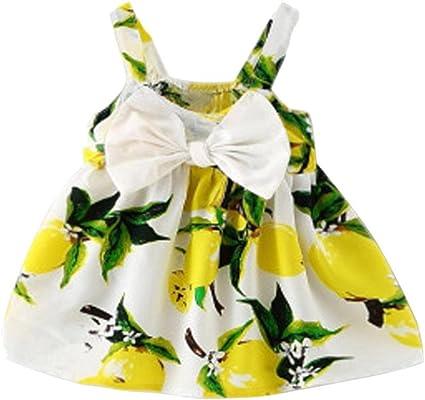 Cute Infant Baby Girl Clothes Lemon Print Sleeveless Princess Party Gallus Dress