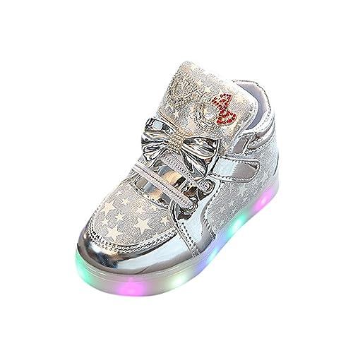 Zapatos Unisex Flash LED de Niñas Niños Botas de Nieve de Arco de PU Botines Niña Invierno Acogedor Zapatos de Iluminación Botines Infantiles Zapatillas de ...