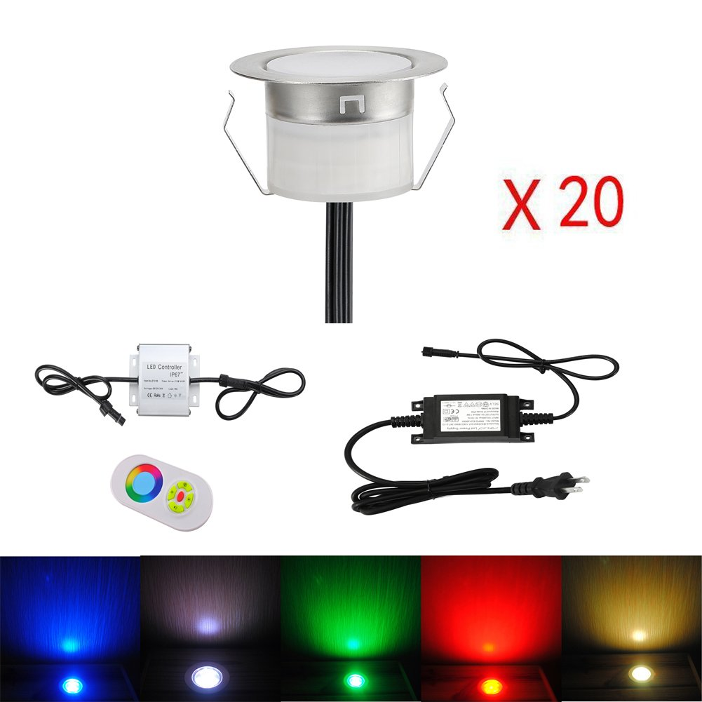 FVTLED Low Voltage 20pcs Multi-color RGB LED Deck Lights Kit 1-3/4'' Stainless Steel Recessed Wood Outdoor Yard Garden Decoration Lamp Patio Stairs Landscape Pathway Lighting by FVTLED