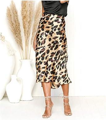 Falda con Estampado de Leopardo para Las Mujeres de Cintura Alta ...
