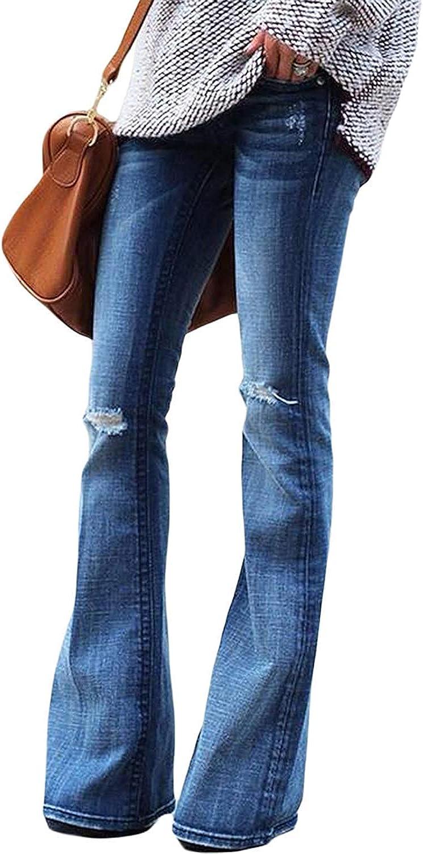 Minetom Mujer Pantalones Acampanados Vaquero Skinny Push Up Pantalones Elastico Jeans Cintura Alta Denim Mezclilla Pants Vaqueros