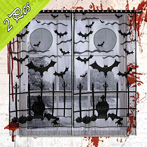 Scary Halloween Window Panels (OurWarm 2pcs Lace Halloween Window Curtains, Vividly Bats Spider Web Valance Door Panels Covers for Halloween Party Holiday Decoration (40 x 84 Inch,)