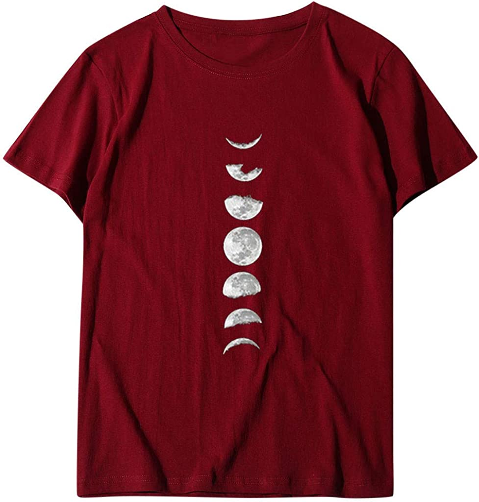 VEKDONE Women Moon Phases Graphic Tee Shirts Summer Short Sleeve Relaxed Round Neck T-Shirt Blouse Tops Plus Size
