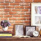 "HaokHome 453003 Vintage Faux Brick Wallpaper Roll Pumpkin/Off White 3D Brick Realistic Paper Room Wall Decoration 20.8"" x 393.7"""