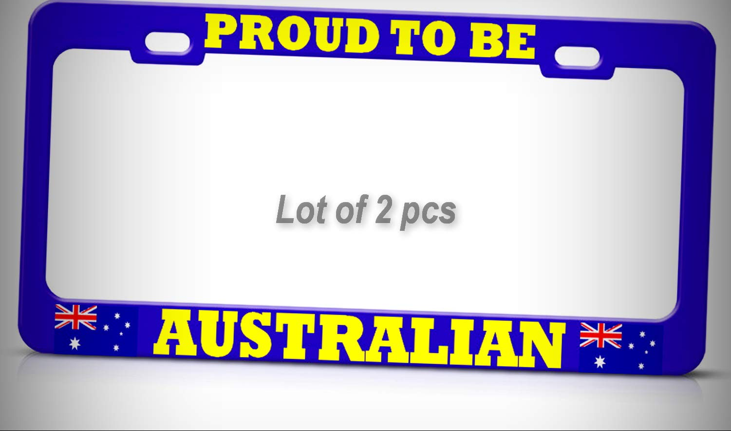 Set of 2 Pcs - Proud to BE Australian Blue Metal Tag Holder License Plate Frame Decorative Border AUTO SUV Tag