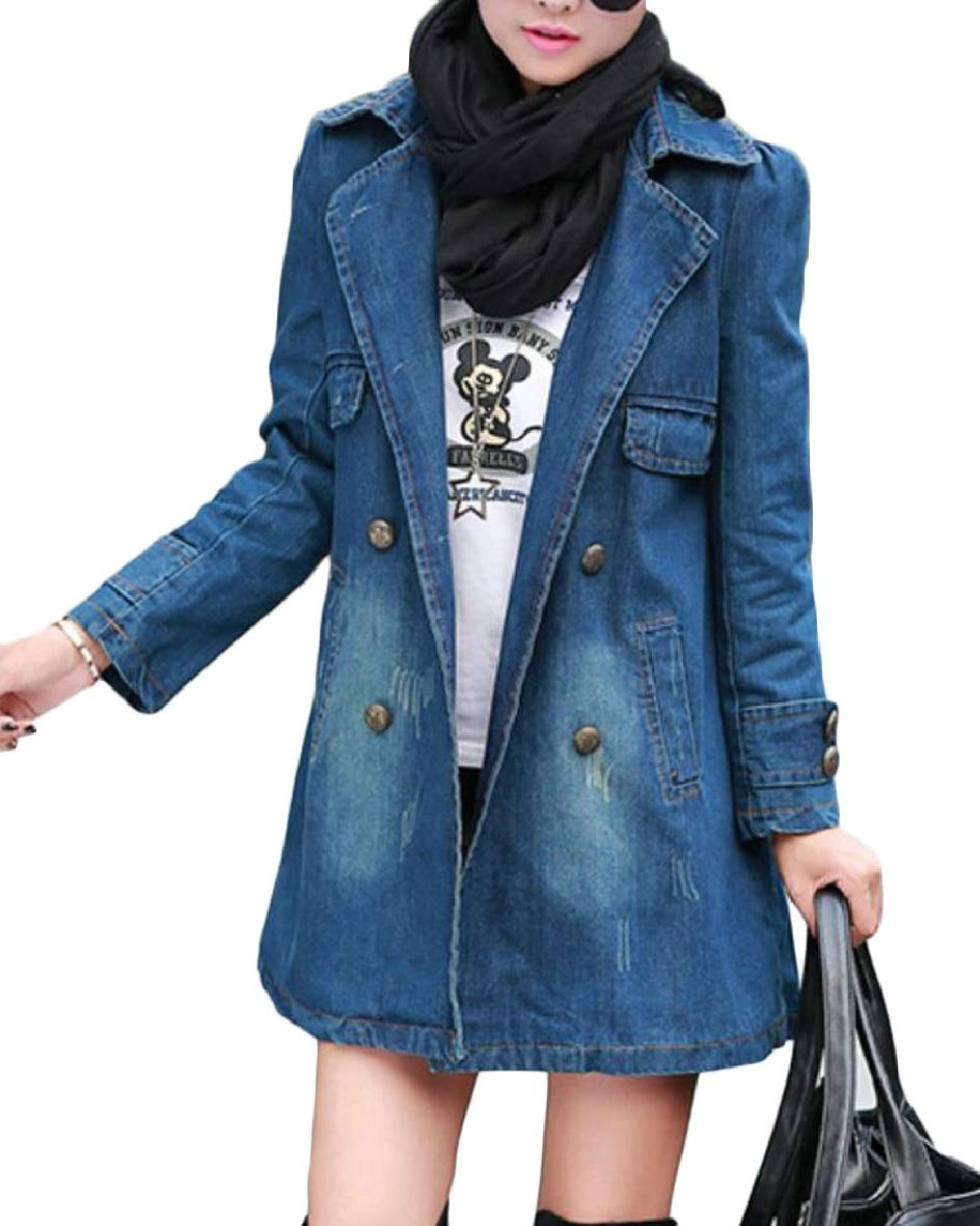 Tymhgt-CA Women Trench Coat Denim Mid Long Length Double Breasted Biker Jackets