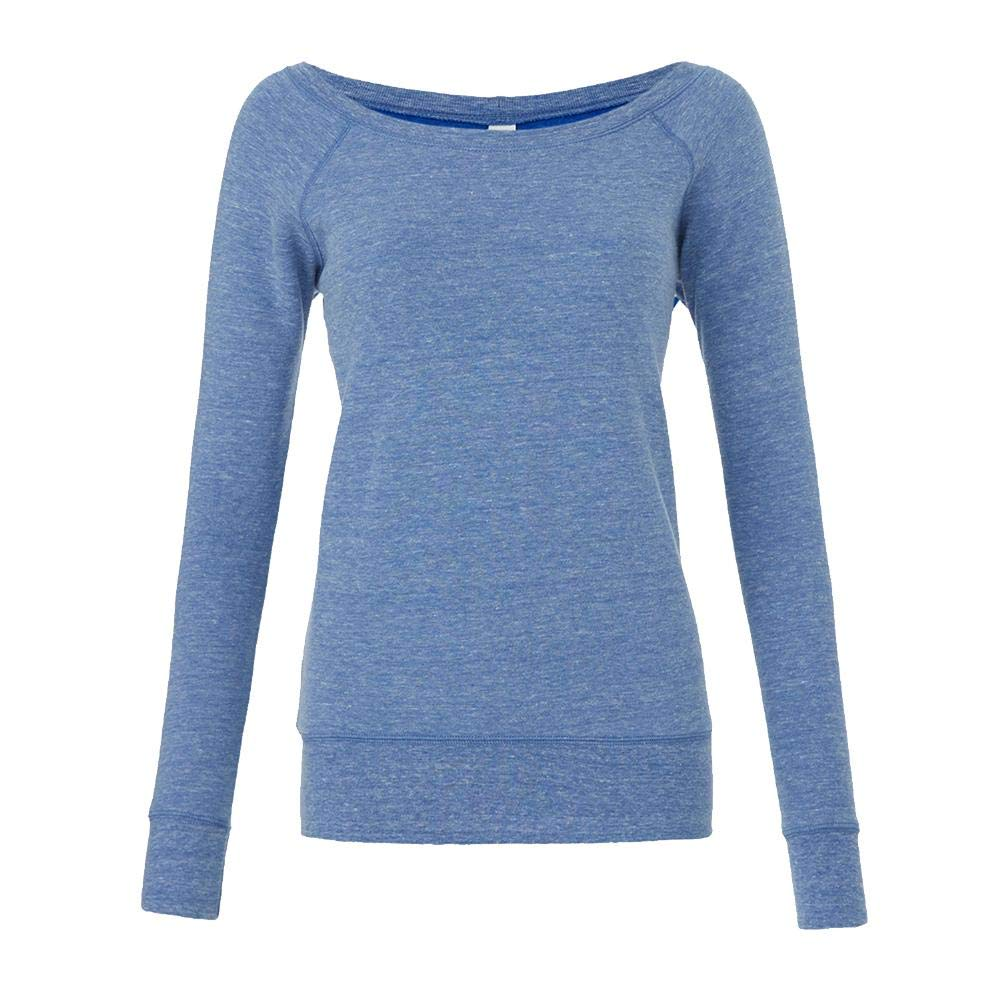 S S,Blue Triblend Mia Slouchy Wideneck Sweatshirt Bella Blue Triblend