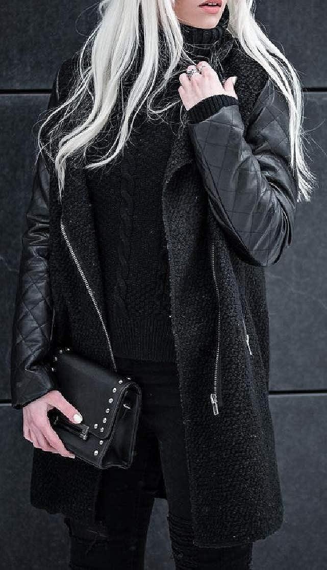 YUNY Womens Splicing Zip Stand Collar Fashion Mid Long Pocket Outwear Jacket Black S