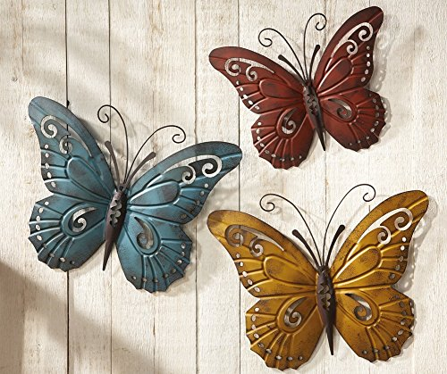 Nature Inspired Metal Butterfly Decorative Wall Art Trio, Hang Indoors or Outdoors, Multi-Colored>
