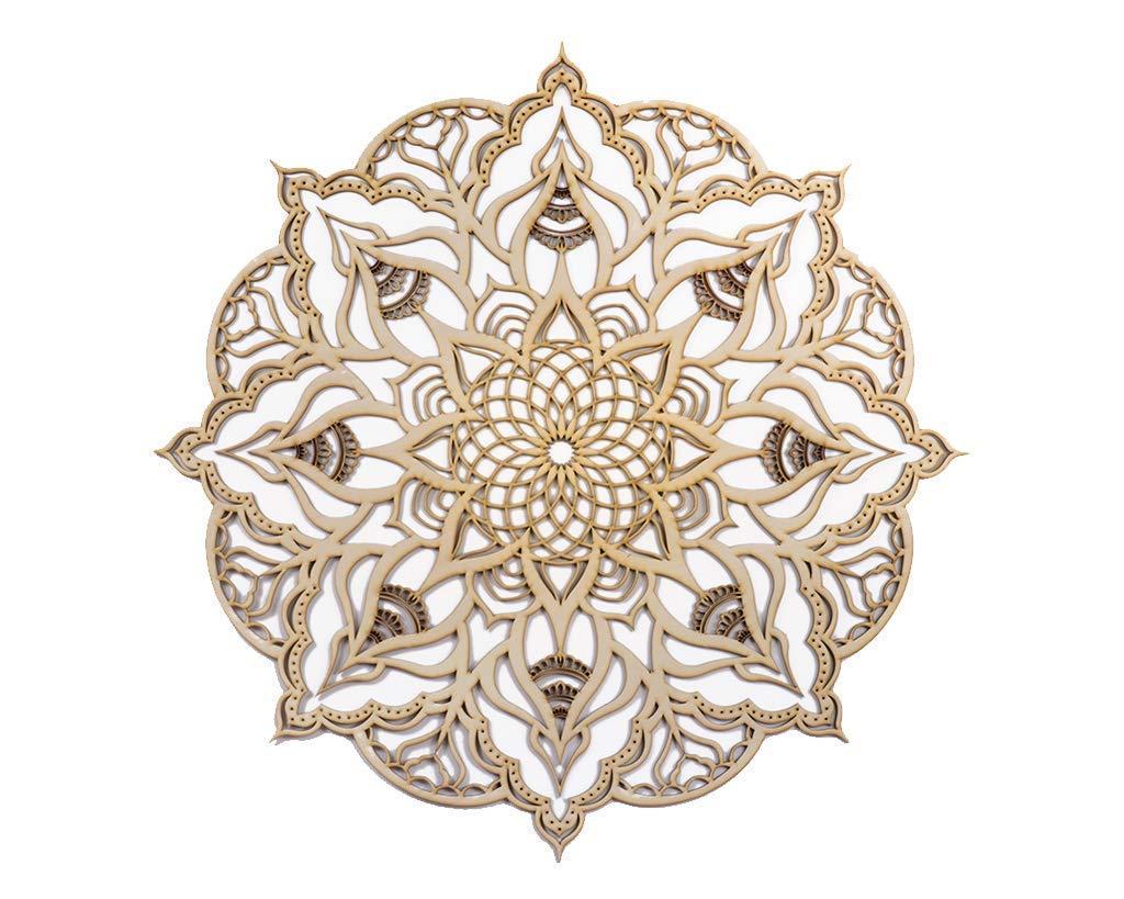Mandala Natural Wood Home Decor, Large Geometric Indian Wall Art, Boho Ethnic Housewarming Wall Hanging, Morrocan Handmade Spiritual Gift, Sacred Geometry