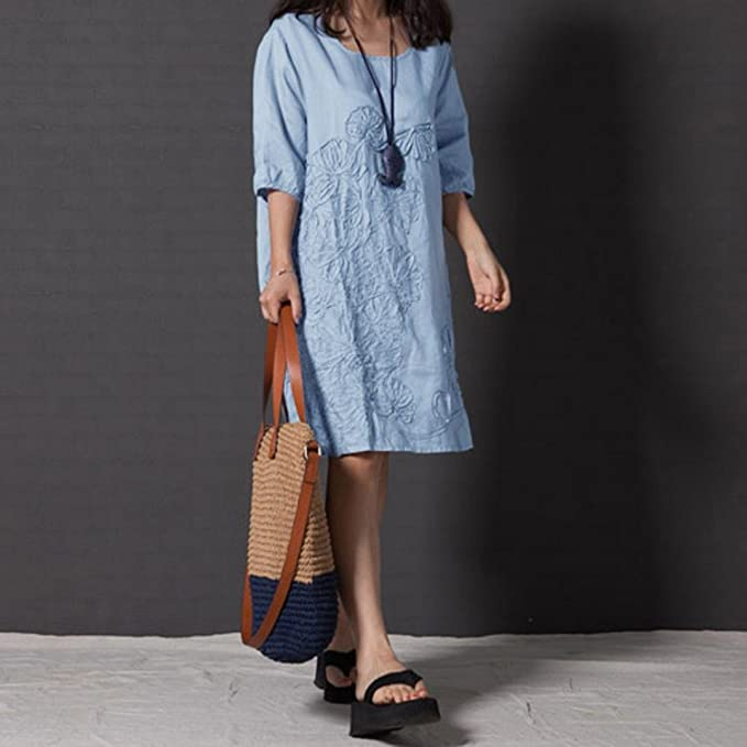 f600818f4d6 Amazon.com  MIARHB Women s Cotton Linen Dress Loose Casual Short Sleeve  Floral Printed Mini Dresses  Clothing