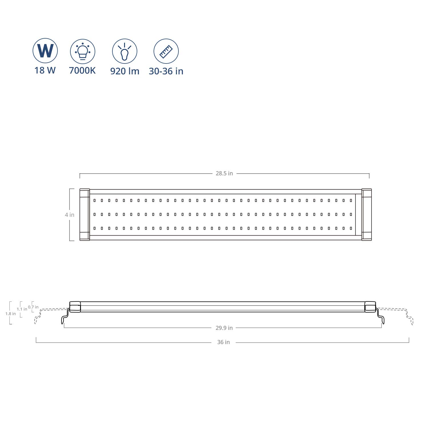 Fish Tank Light with Extendable Brackets White and Blue LEDs NICREW ClassicLED Aquarium Light