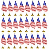 tibijoy 24 Pieces American Table Flags on Stand with Stand Base,Small Mini USA Flags Desk Flags Set, US Miniature Desktop Flags Theme Party Decoration, Home Desk Decoration