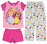 Disney Princess Girls' Belle Cinderella and Rapunzel 3-Piece Pajama Set (8)