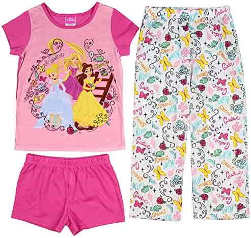 55299051a9 Disney Princess Girls  Belle Cinderella and Rapunzel 3-Piece Pajama Set