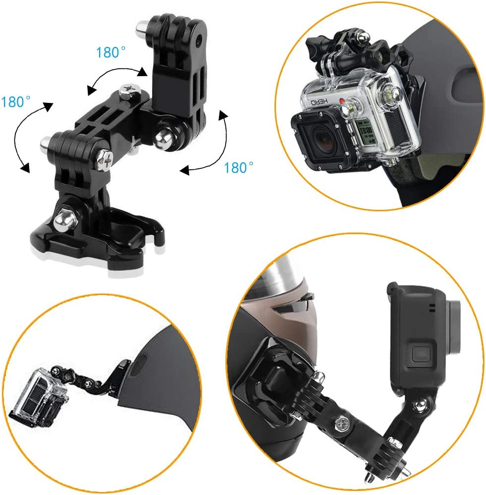 with Adhesive Pads and J Hook Mount AxPower Motorcycle Helmet Chin Mount Kits for GoPro Hero 4 5 6 7 8 Black//Session AKASO//Campark//YI Action Camera