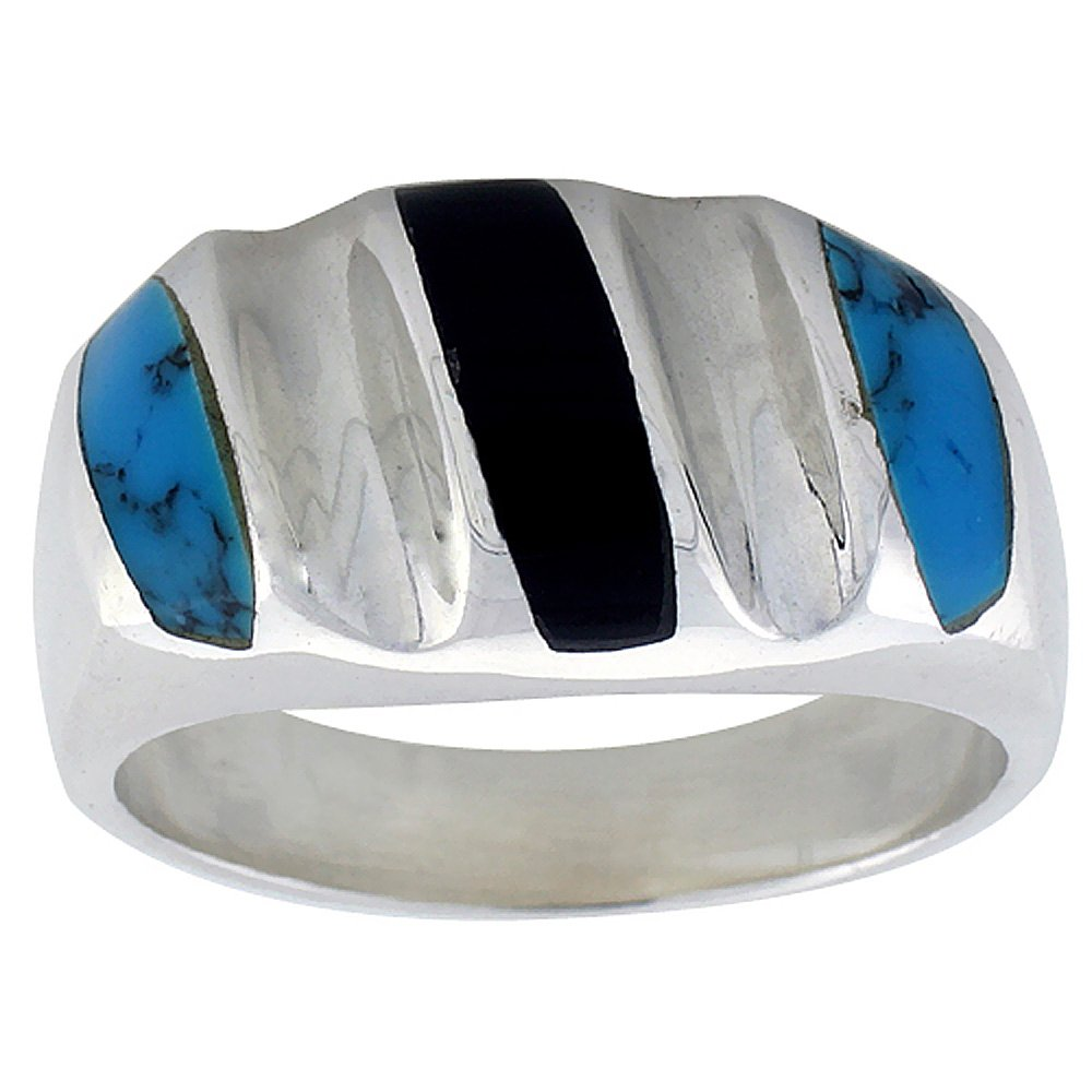 Sterling Silver Black Obsidian & Reconstituted Turquoise Ring for Men Oval Concave Stripes Solid Back Handmade, size 10 by Sabrina Silver