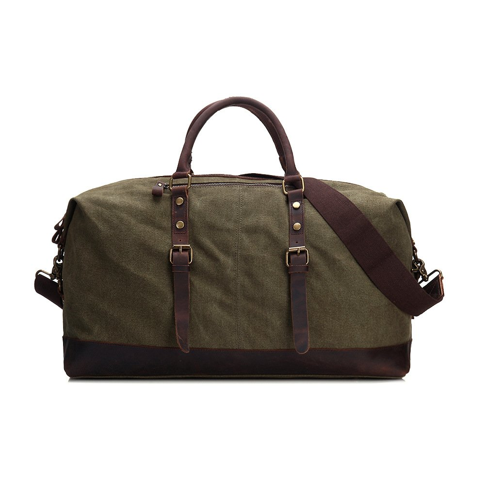 Color : Green, Size : L FLYSXP Canvas Big Bag Retro Crazy Horse Skin Thickening Wash Canvas Men and Women Travel Bag Luggage Bags