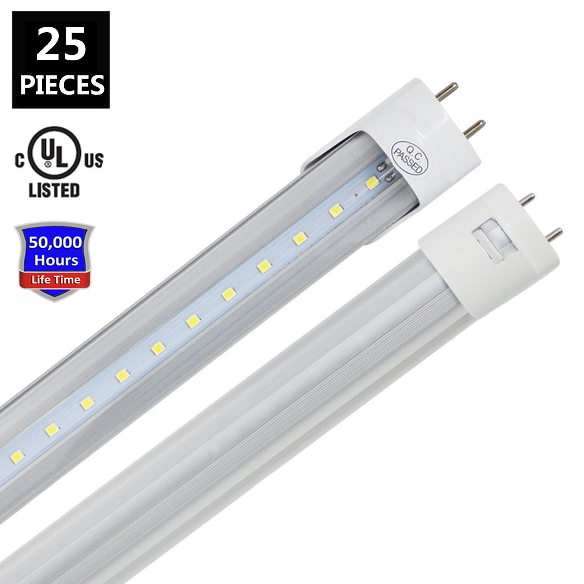 JESLED T8 LED Light Tube, 4FT, 22W (45W Fluorescent Replacement), 6000K (Cool White), 2310LM, Clear Cover, Dual-End Powered, Two Pin G13 Bulbs Lighting Fixtures, Works Without Ballast (25-Pack)