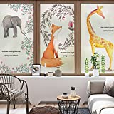 YINGLI YL Stained Glass Decorative Window Film, Premium Static Cling No-Glue Stained Glass Decorative Window Film, Vinyl Scrub Privacy Window Film,Three pieces of set:A+B+C (60CM90CM, Animals)