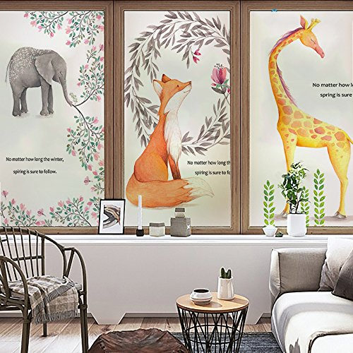 YINGLI YL Stained Glass Decorative Window Film, Premium Static Cling No-Glue Stained Glass Decorative Window Film, Vinyl Scrub Privacy Window Film,Three pieces of set:A+B+C (45CM60CM, Animals) by YINGLI