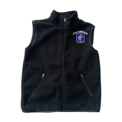 101st Airborne Screaming Eagle Black Fleece Zipped Vest with Pocket