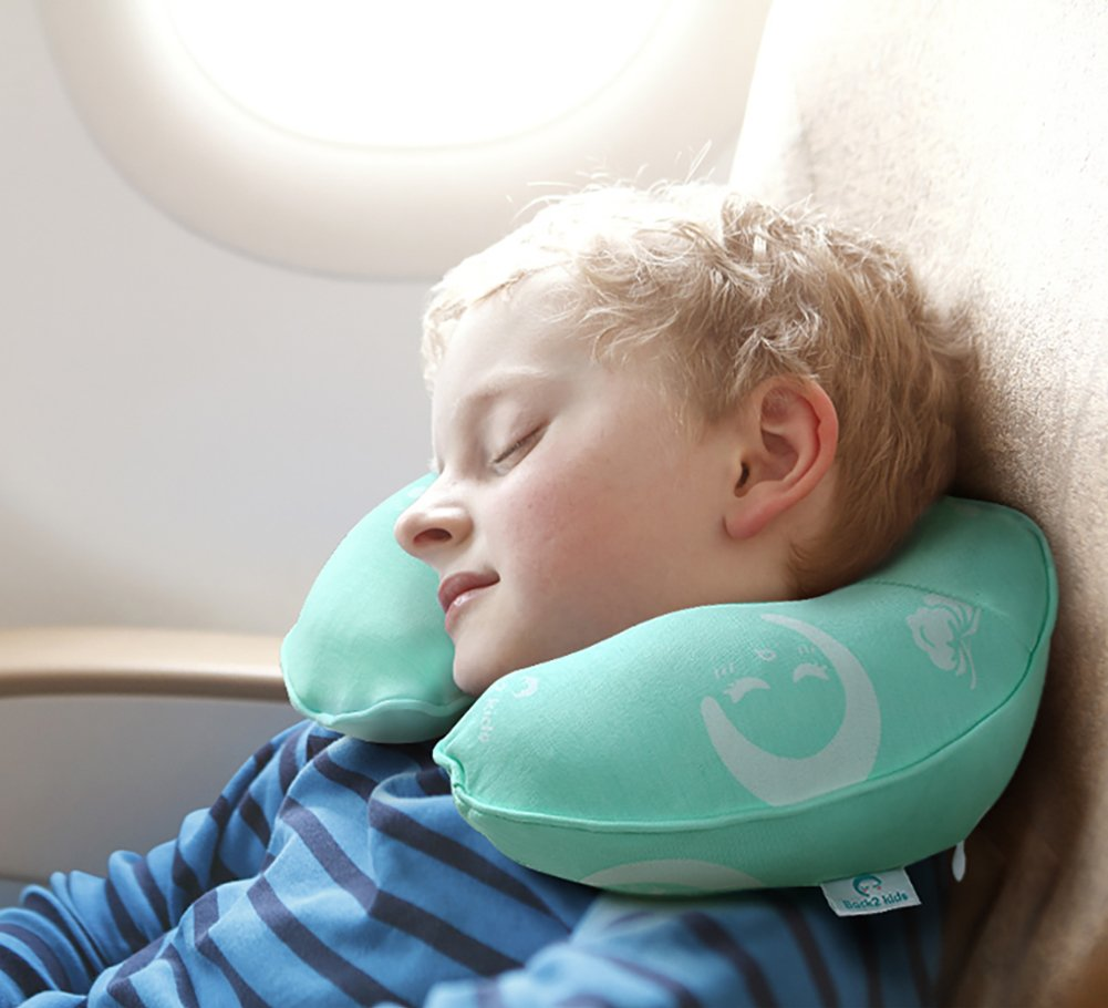 Restcloud Kids Travel Neck Pillow for Airplane, Head and Neck Support Travel Pillow for Kids Age 3 to 12 (Green)