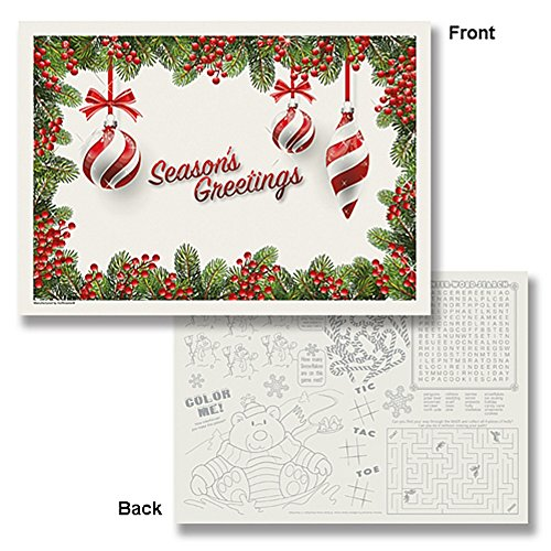 Seasons Greetings Ornaments Paper Placemats - 10x14 - 25 Pack (Season Placemat)