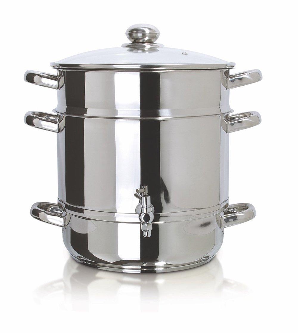 Euro Cuisine EC9500 Stove Top Steam Juicer, 8 Quarts Juice Container, Stainless Steel