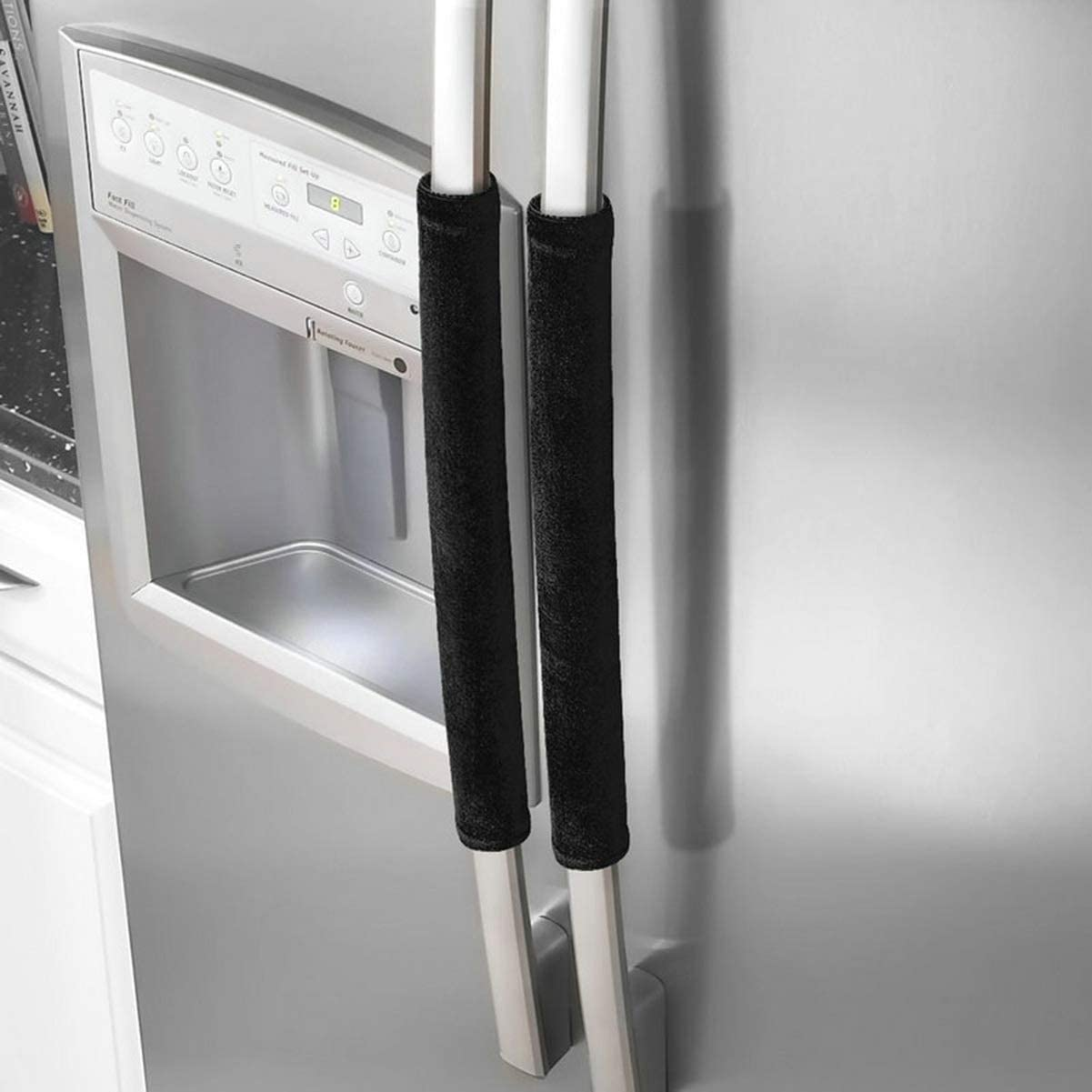 VOSAREA Refrigerator Door Handle Covers,2pcs Antiskid Protector Gloves Kitchen Appliance Covers for Refrigerator Door Microwave Dishwasher (Black)