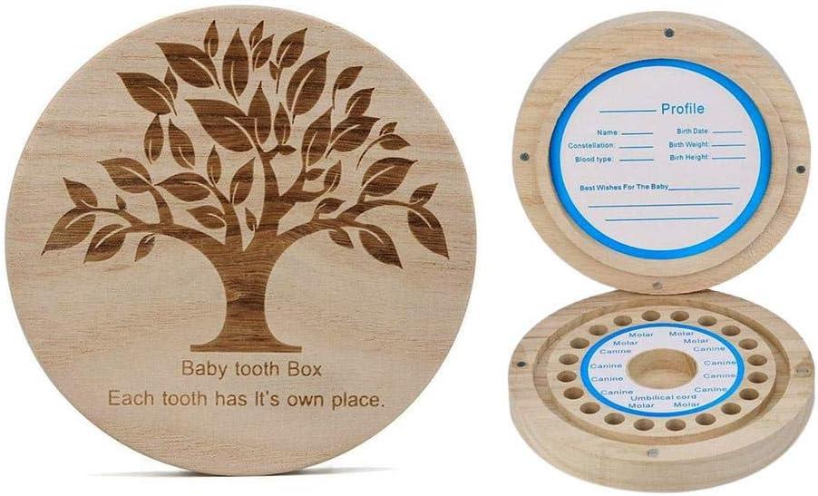 Nishci Bo/îte /à Dents pour b/éb/é Bo/îte /à Dents Ronde en Bois pour Collection de Dents