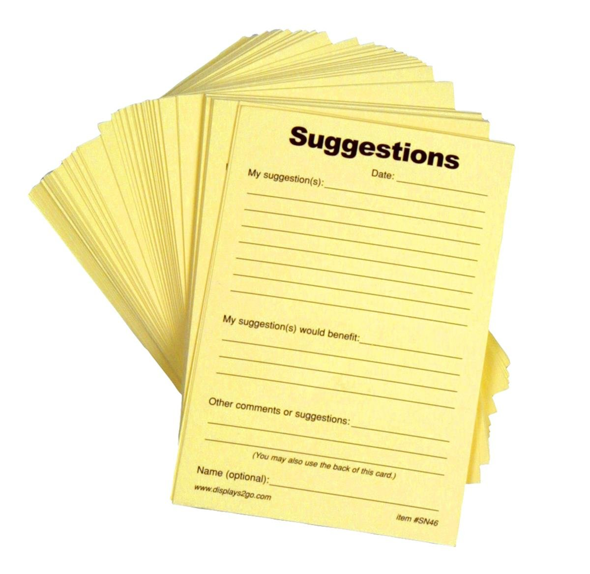 Amazon.com : Displays2go Suggestion Form Pads, Set of 10, 4\