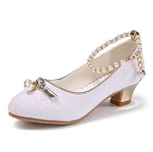 d53319eba Fanessy Fille Ballerines Mode Chaussure de Princesse Blanc Rose ...