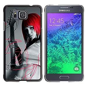 TopCaseStore / la caja del caucho duro de la cubierta de protección de la piel - Design Red Head Girl - Samsung GALAXY ALPHA G850