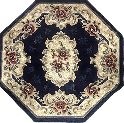 emirates Traditional Octagon Aubusson Persian Floral Oriental Area Rug Dark Blue Red & Beige Design 507 (5 Feet 3 Inch X 5 Feet 3 Inch) (Aubusson Rug Floral)