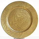 Efavormart 13'' Round Wooden Textured Gold Acrylic Charger Plates Wedding Party Dinner Servers - Set of 24