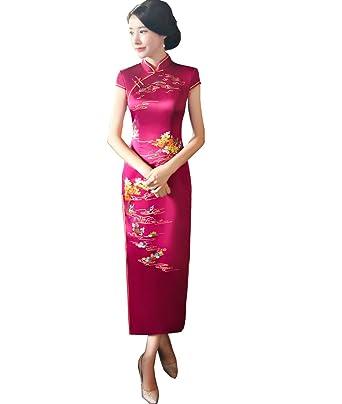 22093eeec Amazon.com  Femirah Cheongsam Long Silk Satin Chinese Style Wedding ...