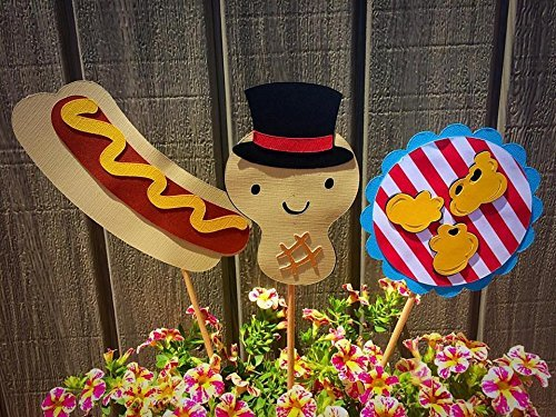 amazon com 3 carnival themed centerpiece sticks bbq food summer