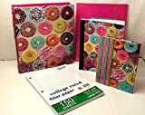 Bundle Back to School Supplies Binders Pocket Folder Composition Elementary Junior High Backpack Middle Sweet Donut 5 piece Pink
