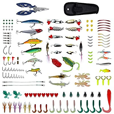 Zacro 241pcs Fishing Lure Tackle Set, Fishing Lure Baits with Variety of Lures, Hard Lures, Soft Lures , Spinner baits, Lures Accessories Fishing Gear Lures Kit Set