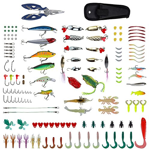 Zacro 241pcs Fishing Lure Tackle Set, Fishing Lure Baits with Variety of Lures, Hard Lures, Soft Lures , Spinner baits, Lures Accessories Fishing Gear Lures Kit Set All Copper Bullets