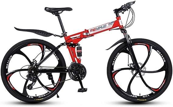 JLASD Bicicleta Montaña Bicicleta De Montaña, Bicicletas Plegables, Marco De Acero Al Carbono, De Doble Suspensión Y Doble Freno De Disco, MTB, De 26 Pulgadas Ruedas (Color : Red, Size : 24-Speed):
