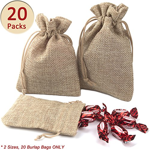 ADVcer Burlap Bags with Drawstring Set, 5.5 x 4 and 4.8 x 3.5, Sacks 20 for Small Favor, Gift, Treat, Goodie, Party, Jewelry, Little Sachet, Coffee Bean, Mini Decor, Craft, Candy, Tea Storage (Little Bean)