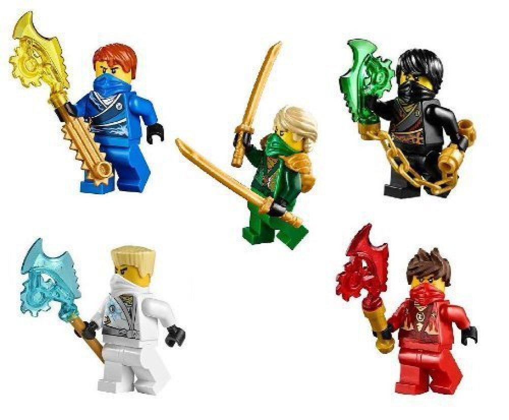 LEGO® NinjagoTM Ninja's set of 5 - Lloyd, Cole, Jay, Kai, Zane Techno Robe minifigures (2014)