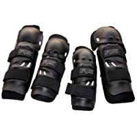 Dhhan Motorcycle Riding Knee and Elbow Guard (Black, Set of 4)