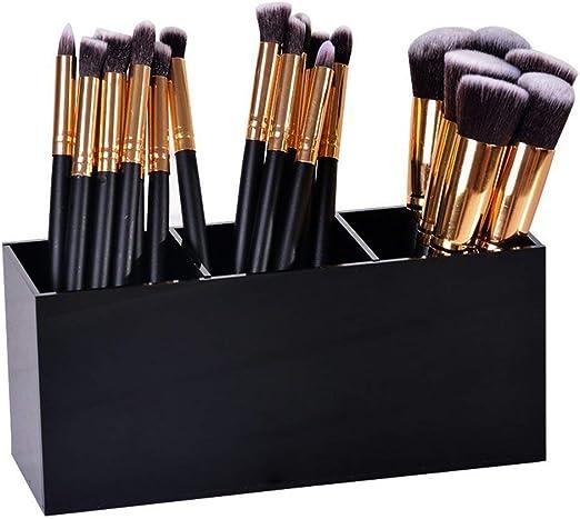 XMLIFE - Estuche organizador de brochas de maquillaje acrílico, 3 ranuras, para cosméticos, almacenamiento, diseño antideslizante, pinceles de maquillaje, estuche, estuche, contenedor: Amazon.es: Hogar