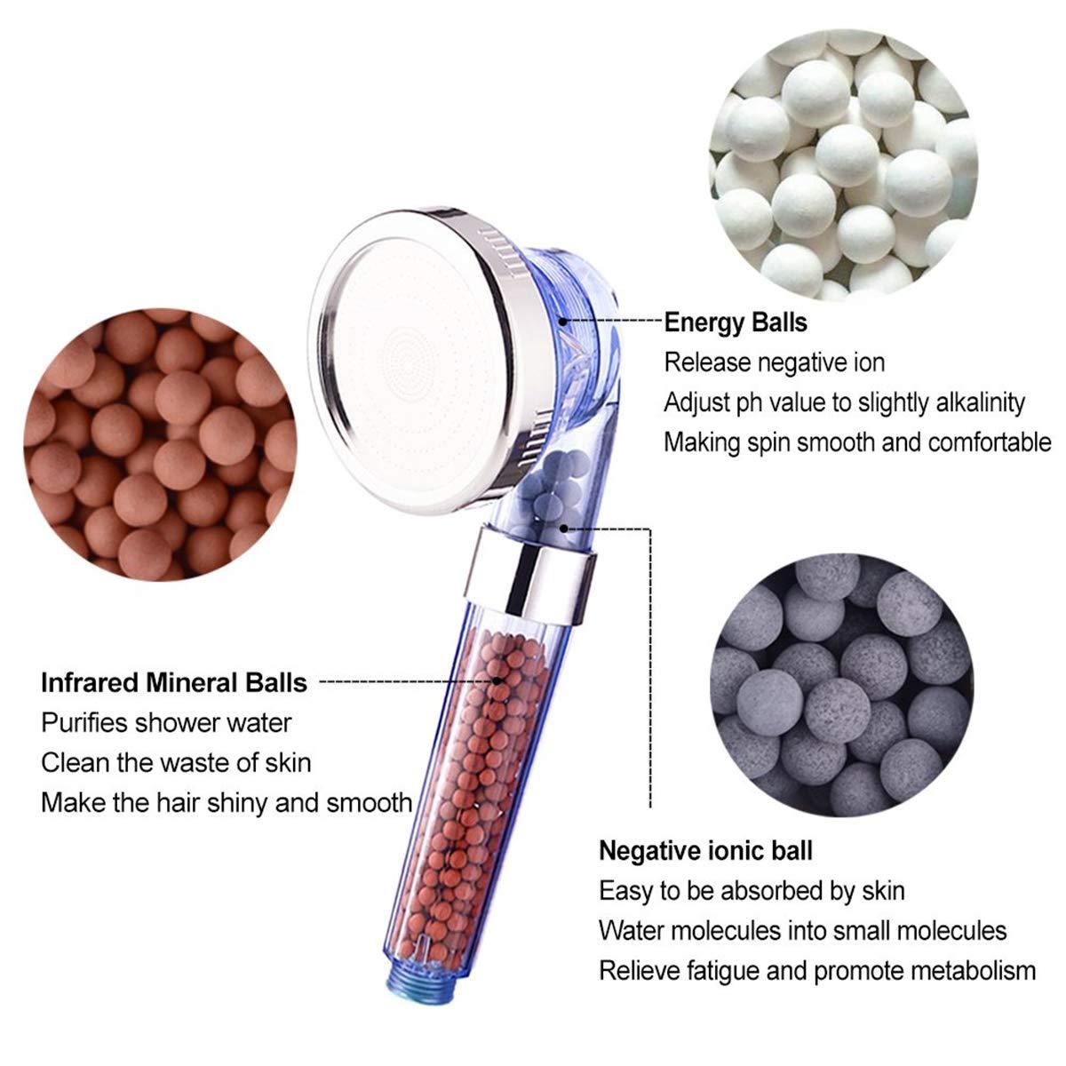 HJ Stay Real 6 Packs de Iones Negativos de Bolas de Mineral Piedra de Repuesto Bioactiva para Filtro I/ónico de Cabezal de Ducha de Mano Purifica el Agua de Ducha que Rejuvenece Piel y el Cabello
